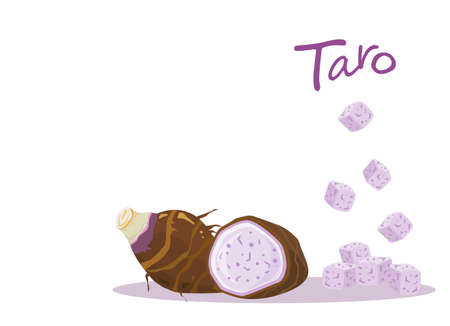 Half and slice with cubes of taro root isolated on white background. Vector illustration.