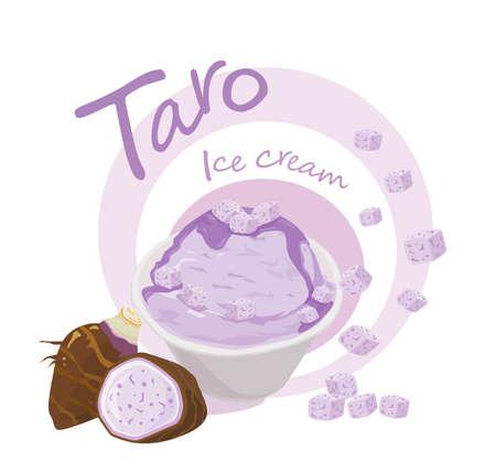 Delicious taro ice cream flavor purple on white background. Vector illustration.