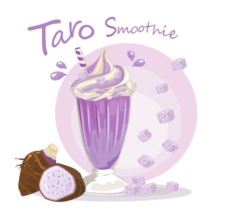 Taro Smoothies in a glass isolated on white background. Vector illustration. Vettoriali