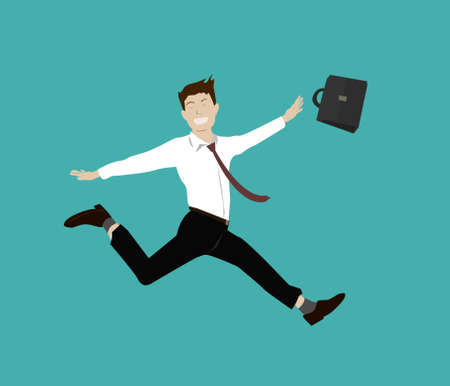 A business man is jumping on green background. Vector illustration. Businesses man are preparing for a holiday with his face very smile.
