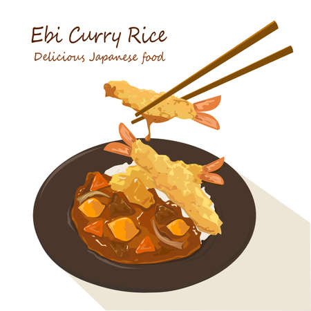 Ebi Fried Curry Rice, Deep Fried Prawn with Japanese Curry style on rice isolated vector eps on white background. Vektorové ilustrace