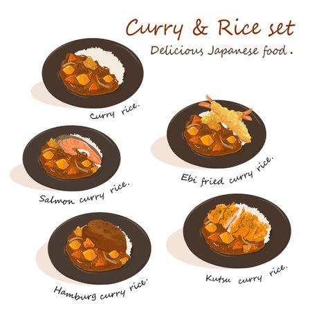 Curry and rice set vector on white background. Salmon, Shrimp fried, Hamburg steak, and Kutsu toppings. Vektorové ilustrace