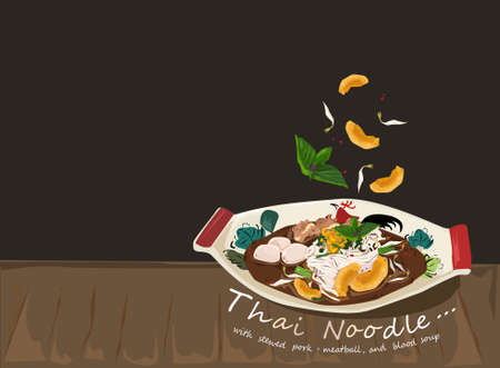 The Thai noodle with pork, pork ball, crispy pork, and blood soup in traditional bowl crockery on wooden table and black background. Vector illustration for design or template.
