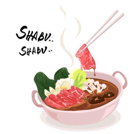 Shabu or Sukiyaki, a popular dish of pork, beef, seafood, and fresh vegetables