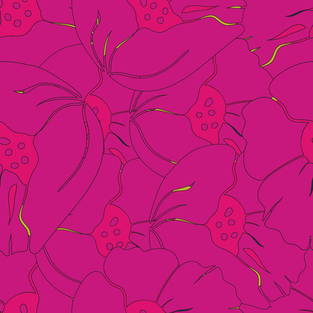 Vector seamless Illustration of cheerful bright pink and orange poppy flowers. Perfect for fabric, wall paper, home decor, scrapbooking, notebooks, cards, accessories, gifts, phone case and fashion.