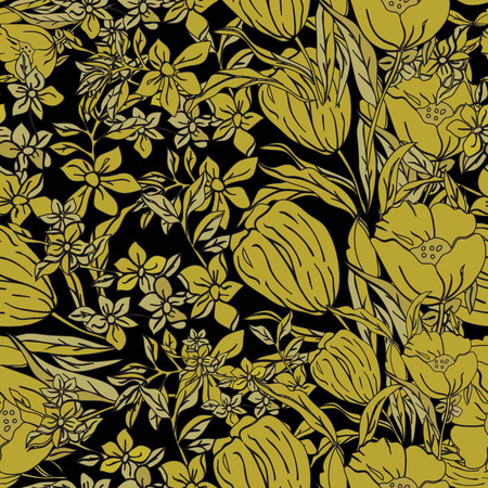 Vector seamless Illustration of gold dipped poppies, tulips, scattered flowers and leaves. Free flowing arrangement of golden yellow details creates beautiful vertical effect on dark black background. Illustration