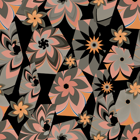 Vector illustration of floral multicoloured hexagons which are positioned in scattered and overlapping manner creating an illusion of kaleidoscope. Illustration