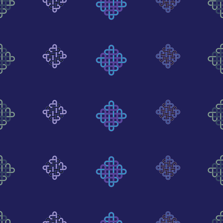 Vector illustration of traditional celtic knot symbol, ornaments arranged in geometric layout. Ideal for gift wrap, home decor.