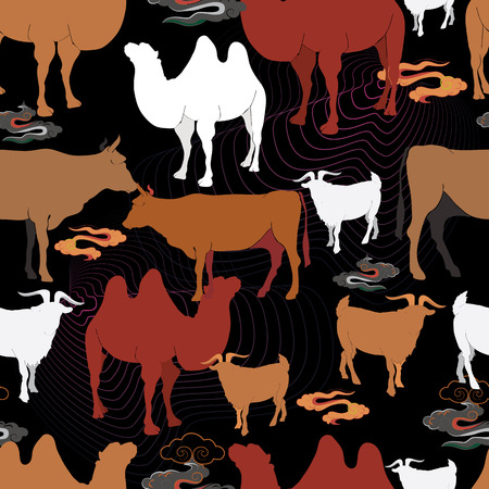 Cattle grazing in a meadow. Sheep, camels, goats and cows on pasture. Vector illustration 写真素材