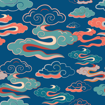 illustration of beautiful lunar twilight with colourful bright clouds glowing against blue sky. Seamless repeat pattern.