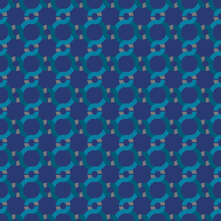 Seamless abstract retro geometric pattern with interlocked spherical chains