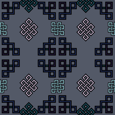 Vector illustration of Mongolian traditional symbols and ornaments arranged in seamless pattern. Stock Photo