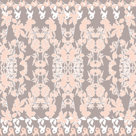 Floral seamless pattern. Abstract floral elements in symmetrical pattern