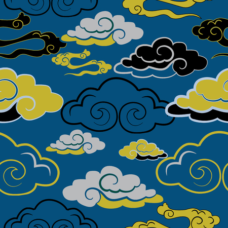 Vector illustration of beautiful lunar twilight with colourful grey, white, yellow, navy clouds resembling dragon tails glowing against blue sky.