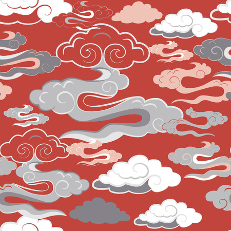 Vector illustration of beautiful lunar twilight with colourful coral, pink, orange clouds resembling dragon tails glowing against blue sky.