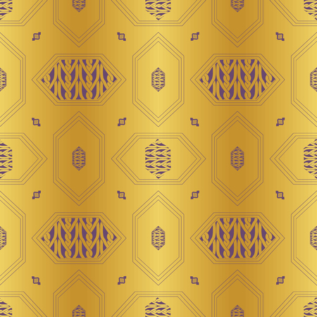 ART DECO VECTOR ILLUSTRATION WITH PURPLE WIRED HEXAGONS AND BRAIDED CHAINS ON GOLD BACKGROUND Imagens