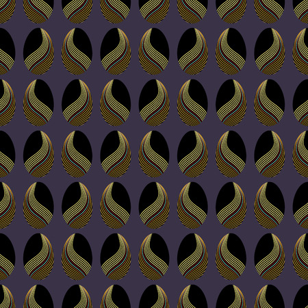 PYSANKI INSPIRED SEAMLESS REPEAT PATTERN. ILLUSTRATION OF EASTER EGGS DECORATED IN GOLDEN, TEAL, PINK, PURPLE WARPED LINES ON PURPLE BACKGROUND.