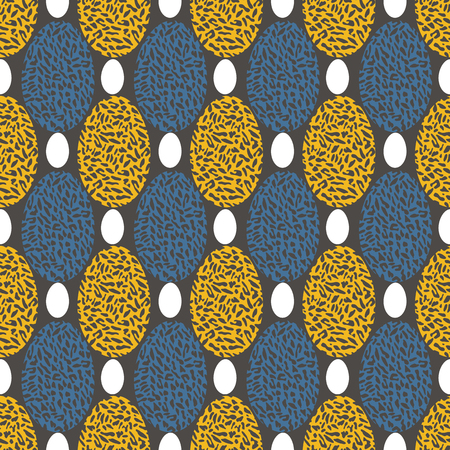 EASTER INSPIRED VECTOR SEAMLESS REPEAT PATTERN. ILLUSTRATION OF CHEETAH PRINTED CIRCLES IN MUSTARD YELLOW, BLUE AND GREY COLOURS ARRANGED IN GEOMETRIC LAYOUT. Banque d'images - 118503000