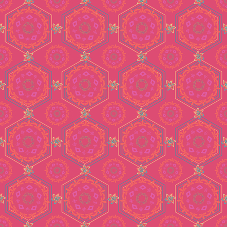 ABSTRACT ART DECO GEOMETRIC PATTERNS IN PINK, YELLOW, LIGHT GREY, CORAL, PINK, ORANGE, AQUA AND ORANGE. VECTOR ILLUSTRATION OF MANDALA, HEXAGON, ORNAMENTS AND FLORALS ARRANGED IN GEOMETRIC LAYOUT.