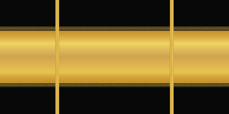 Vector geometric seamless pattern with horizontal golden stripes and chains. Art deco ornament on black background. Wallpaper, wrapping paper, textile print. Modern, graphic, border.