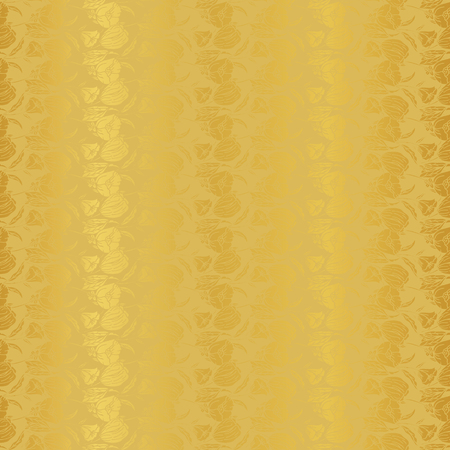 Vector Illustration of stylized, abstract, golden botanical garden with tulips, poppies and lilies. Elegant seamless repeat pattern perfect for fabric, wallpaper, background, fashion design, accessories, gifts and scrapbooking. Stok Fotoğraf