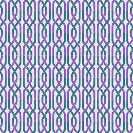 Seamless abstract retro geometric pattern. Illustration of purple and green chain elements in overlapping vertical layout. Ideal for fashion, gift, paper, scrapbooking and fabric.