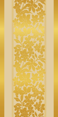 Stylized abstract golden metallic poppies and tulips with floating lilies and leaves on cream background. Elegant, stylish vertical seamless repeat pattern is perfect for gift, cards, wallpaper, scrapbooking, fabric, interior, paper and art project border.