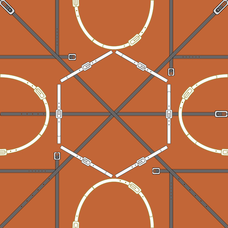 Seamless geometric pattern with metallic buckles, belts and rings. Complex vector print with hexagons, ovals, rectangles and diagonal lines.