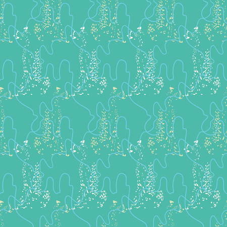 Seamless geometric pattern with leopards and cords. Illustrated in pastel colours, suitable for gifts, fabric, scrapbooking, fashion and home decor.