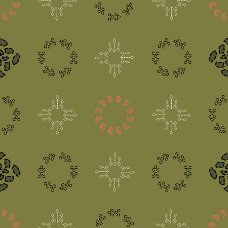 Geometric olive, cream, orange, black and charcoal lacy shapes in vertical and horizontal layout. Seamless repeat pattern for gift wrap, textile, fabric, scrapbooking and fashion. Stock Photo
