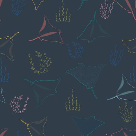 Vector illustration of stylized stingray swimming underwater. This colourful, stylish seamless repeat pattern is perfect for gift, cards, wallpaper, scrapbooking, fabric, interior, paper and art projects.