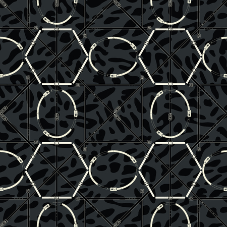 Seamless geometric pattern with metallic buckles, animal prints, belts and rings. Complex vector print with hexagons, ovals, rectangles and diagonal lines.