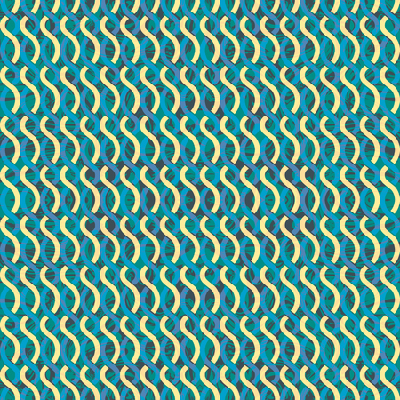 Seamless abstract retro geometric pattern. Illustration of green and yellow chain elements in overlapping vertical layout. Ideal for fashion, gift, paper, scrapbooking and fabric. Illustration