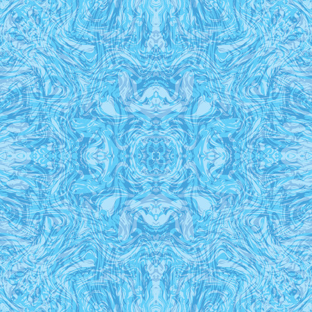 Abstract seamless pattern with mirrored symmetrical, marbled shapes in blue, aqua and white.