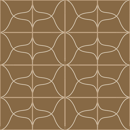 Seamless geometric pattern with buckles, belts and ropes. Complex vector print with stripes, rectangles and curved lines.