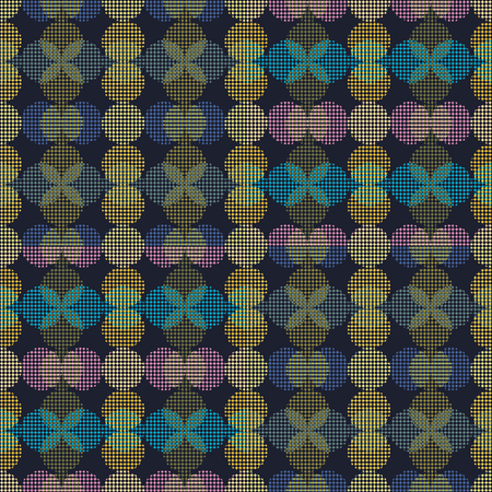 Seamless abstract retro geometric pattern. Illustration of neon green, pink, purple and yellow circles in overlapping vertical layout. Ideal for fashion, gift, paper, scrapbooking and fabric. 免版税图像 - 118504286