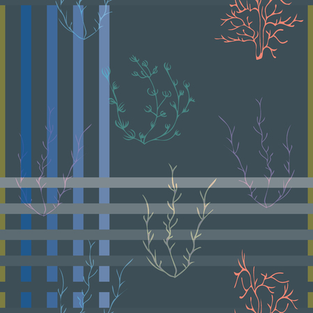 Vector illustration of stylized plants and plaids. This colourful, stylish seamless repeat pattern is perfect for gift, cards, wallpaper, scrapbooking, fabric, interior, paper and art projects.