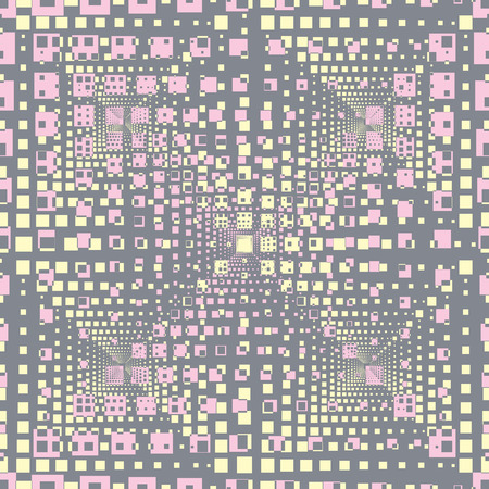 Abstract seamless pattern with rectangular optical illusion, 3d shapes.Smoky pink, yellow and grey vector illustration. 向量圖像