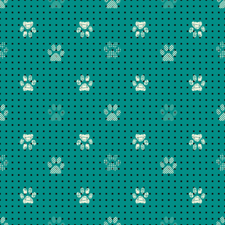 Illustration of cats and dogs paw prints combined with rectangles in geometric patterns. Perfect for gifts, background, fabric and scrapbooking. Stock Photo