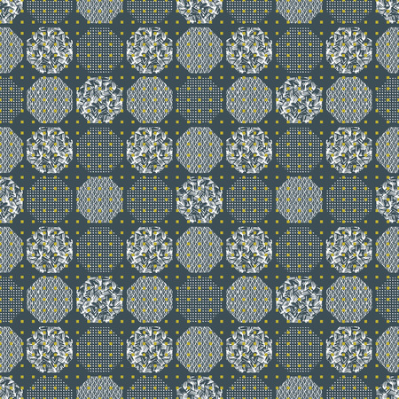 Seamless textured geometric pattern illustration of hexagons with waves, dots and random line textures in white, black, green and grey. Ideal for fashion, gift, paper, scrapbooking and fabric.