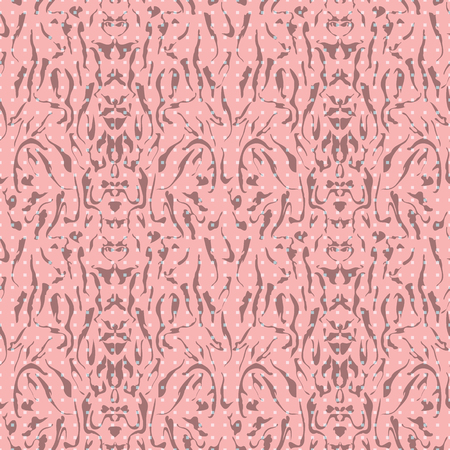 Abstract seamless pattern with mirrored symmetrical, warped stripe shapes and rectangles in shades of pink and brown. 写真素材