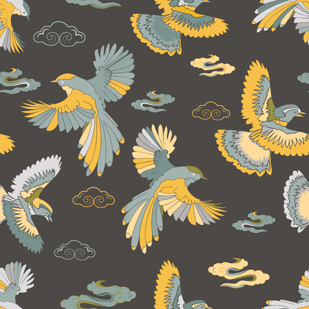 Illustration of birds, blue jay, falcons and clouds. Seamless repeat pattern in yellow, blue, green, light blue and grey.