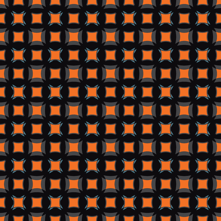 Geometric illustration in orange, black, smoky blue and grey. Vector illustration with stars, circles, arrows and rhombuses.