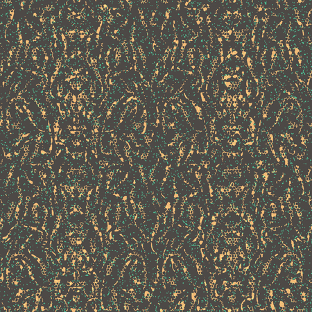 Abstract seamless pattern with mirrored symmetrical, warped stripe shapes, dots and splatters in shades of taupe, green, yellow and orange.