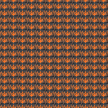 Seamless pattern with intricate frog buttons in geometric layout. Orange, black and cream vector illustration.