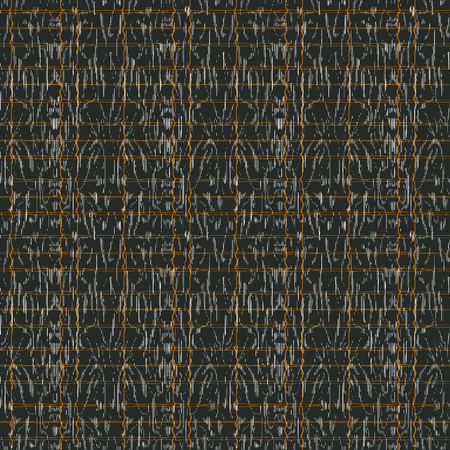 Abstract seamless pattern with mirrored symmetrical, warped stripe shapes, dots and splatters in shades of taupe, white, grey and orange.