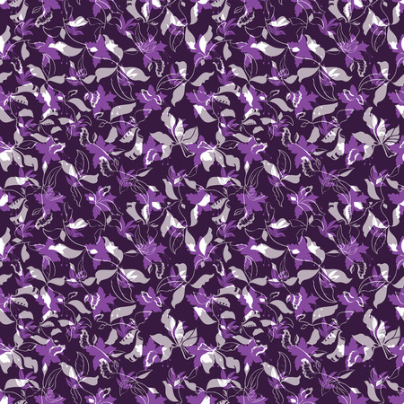 Vector Illustration of stylized, abstract botanical garden with layered plants and flowers in pink, lilac, grey and purple. For fabric, fashion design, accessories, gifts. Ilustracja
