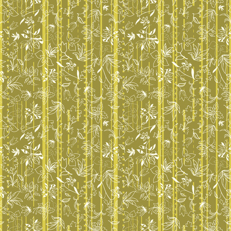 Vector illustration of stylized asphalt roads and higways arranged in vertical pattern, layered with abstract florals in shades of yellow, lime, green and moss. This monochromatic, stylish seamless repeat pattern is perfect for gift, cards, wallpaper, scrapbooking, fabric, interior, paper and art projects. Stock Illustratie