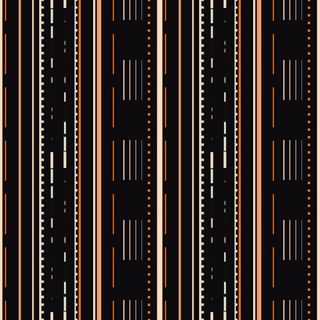 Seamless vector illustration of stylized road and highway pattern with dotted lines, rectangles and stripes. This bright stylish seamless repeat pattern is perfect for gift, cards, wallpaper, scrapbooking, fabric, interior, paper and art projects.