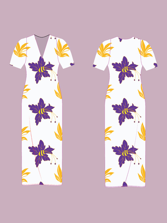 FASHION DESIGN TEMPLATE MOCKUP OF SHORT SLEEVE CLASSIC FITTED MIDI DRESS AND SAMPLE SEAMLESS REPEAT PATTERN DESIGN WITH ABSTRACT FLORAL PATTERN IN LILAC AND YELLOW. PATTERN SWATCH IS PLACED ON A SEPARATE LAYER FOR EASY REPLACEMENT.